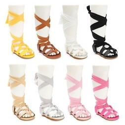 New Fashion Colorful Baby Girl Leather Gladiator Sandals Fri
