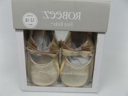 NEW! Robeez First Kicks Sophia Gold Soft Sole Leather Shoes