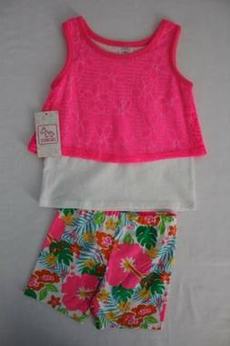 NEW Girls 2 Piece Set Size 12 Months Tank Top Shirt Flowers