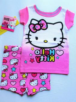 New Hello Kitty Girls baby toddler Cotton pajamas Shorts 2 p