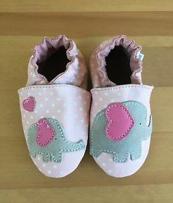 New Robeez Girls Leather Pink Crib Shoes Little Peanut Size