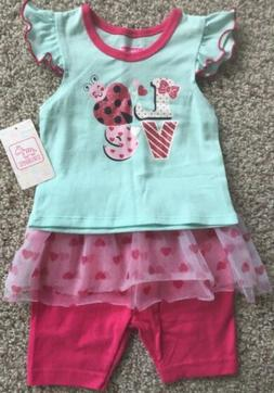 NEW Girls LOVE Size 12 Months Pink Tutu Summer Outfit Shorts