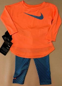 New NIKE Girls Outfit Set Long Sleeve Shirt Pants Size 12 Mo