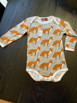 New Milkbarn Organic Long Sleeve One Piece Orange Fox 6-12 M