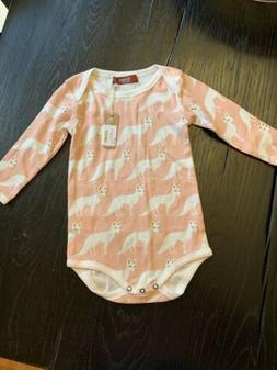 New Milkbarn Organic Long Sleeve One Piece Pink Fox 6-12 Mon