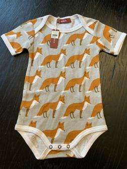 New Milkbarn Organic Short Sleeve One Piece Orange Fox 6-12