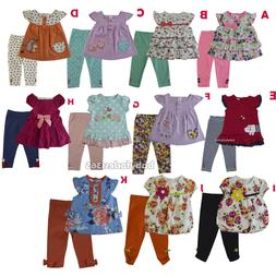 New Ashley's Baby Girls Floral Shirt legging Outfits Size 3