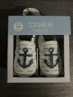 New Robeez Soft Soles 6-12 Months On Board Anchor White Shoe
