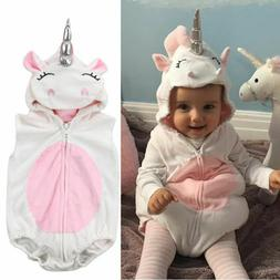 NEW Unicorn Baby Girls White Fleece Romper Halloween Dress U