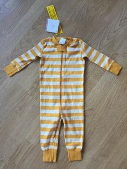 New Unisex Hanna Andersson Pajamas Yellow Striped Size 60 cm