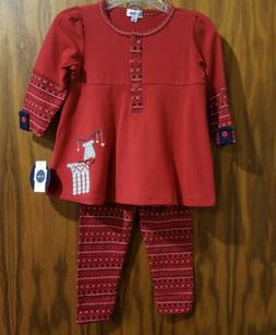 New Winter 2017 Le Top red reindeer pantset,12 months,NWT