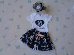 New York Yankees Baby Girl Skirt, Personalized Bodysuit and
