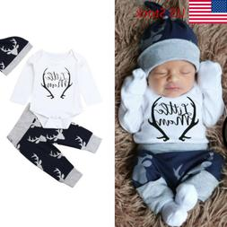 Newborn Baby Boy Clothes Little Man Romper Tops+Deer Pants+H