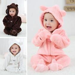 Newborn Baby Boy Girl Hooded Romper Jumpsuit Bodysuit Outfit