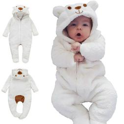 Newborn Baby Boy Girl Kids Bear Hooded Romper Jumpsuit Bodys