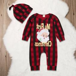 Newborn Baby Girl Boy Christmas Costume Santa Claus Romper +