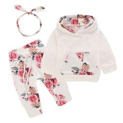 Newborn Baby Girl Clothes Floral Hooded Tops Pants Tracksuit