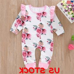 Newborn Baby Girl Floral Cotton Romper Bodysuit Jumpsuit Pla