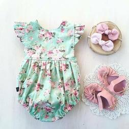 Newborn Baby Girl Flower Ruffle Romper Bodysuit Jumpsuit Out