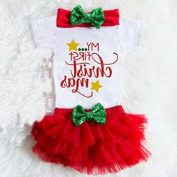 Newborn Baby Girl My First Christmas Tops Romper+Tulle Pants