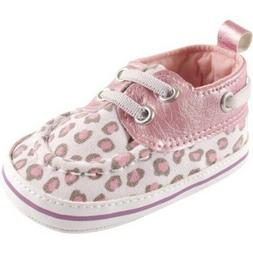 Luvable Friends Newborn Baby Girls Boat Shoes Pink Leopard 6