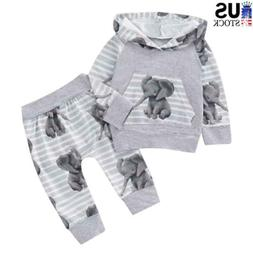 Newborn Baby Girls Boys Hooded Tops Elephant Pants Clothes T