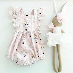 Newborn Baby Girls Easter Bunny Romper Bodysuit Jumpsuit Out