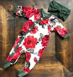 newborn baby girls flower romper bodysuit jumpsuit