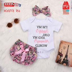 Newborn Baby Girls Romper Tops Jumpsuit Tutu Pants Headband