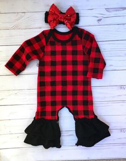 Newborn Baby Girls Xmas Outfits Ruffle Romper Jumpsuit Bodys