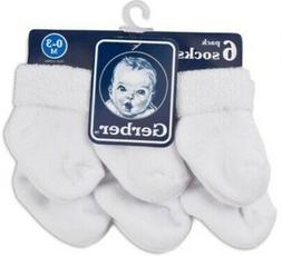 GERBER Newborn Baby Unisex 6-Pack Cotton Ankle Socks - White