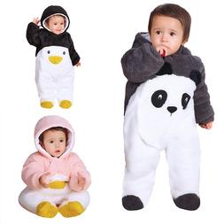 newborn baby winter overalls cartoon panda girls