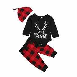 Newborn Infant Baby Boy Clothes Long Sleeve Romper Deer Plai