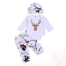Younger Tree Newborn Infant Baby Boy Girl Deer Printed Long
