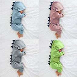 Newborn Infant Baby Boy Girl Dinosaur Hooded Romper Jumpsuit