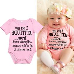 Newborn Infant Baby Girl Funny Letter Romper Jumpsuit Soft C