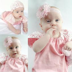 Newborn Infant Baby Girls Lace Sleeve Romper Jumpsuit Outfit
