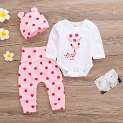 Newborn Kid Baby Girl 3Pcs Clothes Jumpsuit Romper Bodysuit