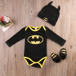 Newborn Toddler Baby Boy Batman Romper Shoes Hat 3Pcs Clothe