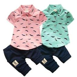 Newborn Toddler Baby Boy Summer Gentleman Clothes Set Pants+