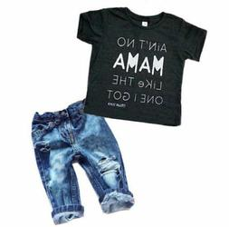 Newborn Toddler Kids Boys Clothes T Shirt Tee Top +Denim Pan