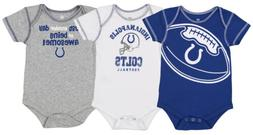 OuterStuff NFL Infant 3 Pack Creeper Set, Indianapolis Colts