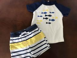 NWOT BABY GAP Swim Trunks And Rash Guard Boy 6-12 Months