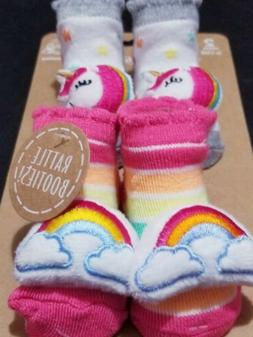 Nwt 2 pairs of booties for newborn 0 to 12 months rainbow an