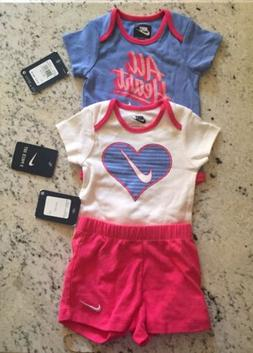 NWT $40 NIKE INFANT BABY GIRLS 3 PIECE OUTFIT SIZE 12 MONTHS