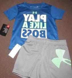 NWT Baby Boy Under Armour Play Like A Boss Top & Shorts SET