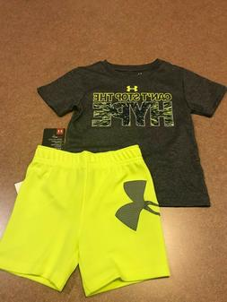 NWT UNDER ARMOUR BABY BOYS 2 PC GREY TOP LIME YELLOW MESH SH