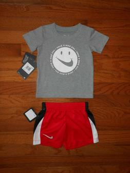 NWT Nike Baby Boys 2pc grey shirt and red short outfit set,
