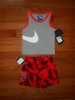 NWT Nike Baby Boys 2pc grey shirt and short outfit set, size