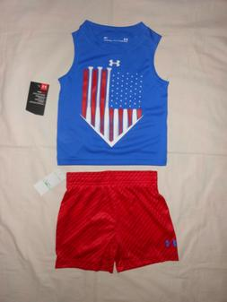 NWT Under Armour Baby Boys 2pc shirt and short outfit set, s